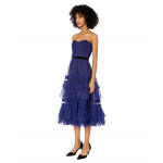 Marchesa Notte Strapless Glitter Tulle Textured Tea-Length Gown with Contoured Bodice and Velvet Ribbon Waist Trim