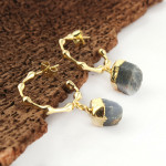Rough Blue Sapphire Gold Plated September Birthstone Bubble Hoop Bali Earrings