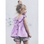 Solid Single-Breasted Petal Edge Girls Casual Dress